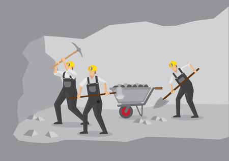 mineros: Secci�n transversal del t�nel subterr�neo que muestra los mineros en el trabajo con equipos de miner�a. Ilustraci�n vectorial de dibujos animados para la industria minera.