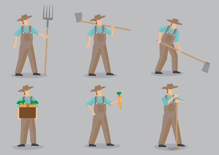 sombrero de paja: Conjunto de ilustraci�n vectorial de dibujos animados de seis agricultor con sombrero de paja y en general el uso de las herramientas de jard�n para diversas actividades agr�colas aisladas sobre fondo gris. Vectores