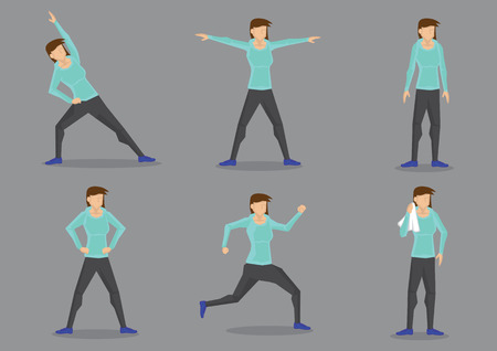 legs wide open: Set of six vector illustrations of athletic woman in sporty tracksuit doing workout isolated on grey background.