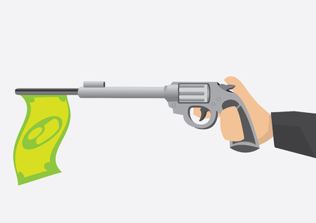 trigger: Hand holding toy revolver gun with index finger on trigger and a green dollar note flag hanging from gun barrel. Vector cartoon illustration with money and finance concept isolated on plain background.