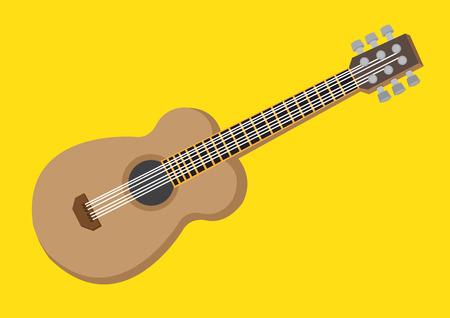 黄色の背景に分離されたアコースティック ギターのベクター イラストです。