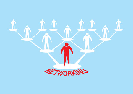 interpersonal: Hierarchical web network of human icon for networking concept. Vector Illustration isolated on blue background. Illustration