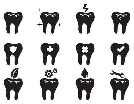 oral care: Black and white vector icon set of conceptual symbols on tooth isolated on white background for dental and oral care.