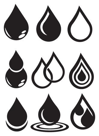 leakage: Set of nine designs of water symbol isolated on white background.