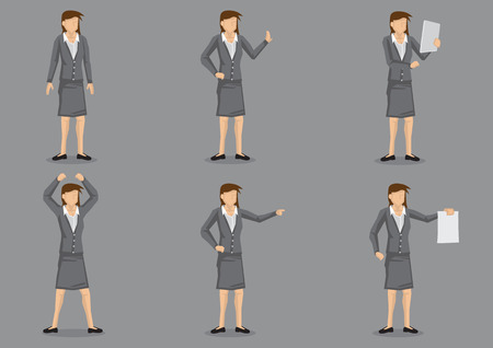 businesswoman skirt: Set of six vector illustration of cartoon career woman executive in various gestures isolated on plain grey background. Illustration