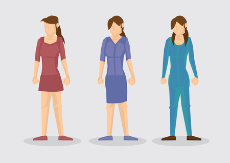 skintight: Vector cartoon illustration of three faceless young women character in various outfits isolated on plain background. Illustration