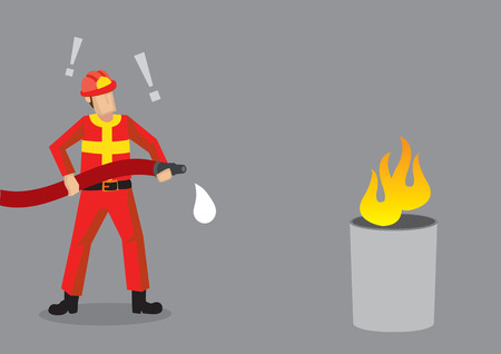 Cartoon fireman standing in front of mock fire, shocked that his hose has no water. Creative vector illustration on comical epic fail situation related to firefighting isolated on grey background.