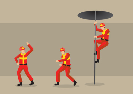 Vector illustration of the interior of fire station with firemen in red protective uniform rushing in response to emergency rescue alarm.