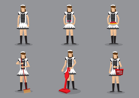 Set of six vector illustration of woman in french maid costume performing household chores. Cartoon characters isolated on grey background.