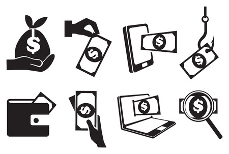 Black and white isolated vector icons on monetary theme