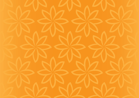 repetition: Vector background with repetition of simple flower pattern design on orange background with fade off gradient at the sides.