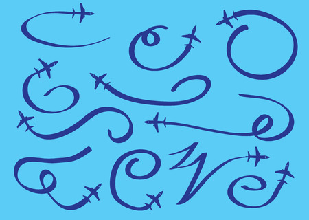 Vector illustration of cartoon airplane in flight and leaving stylized swirly trails isolated on blue background.