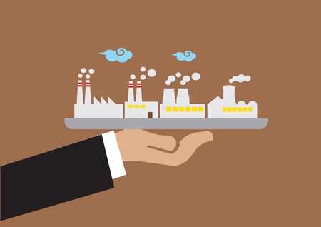 air pollution cartoon: Hand serving a tray with industrial building with air pollution. Creative vector illustration on industrial and environmental pollution concept isolated on plain brown background. Illustration