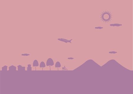 accidentado: Paisaje de avi�n que volaba sobre las colinas y peque�a ciudad en un d�a soleado. Vector ilustraci�n de fondo en dos colores.