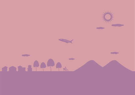 mountainous: Scenery of airplane flying over hills and small town on a sunny day. Vector background illustration in two colors. Illustration