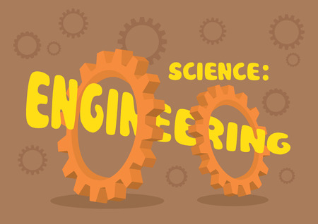 applied: Vector illustration of text Science: Engineering going through the center holes of two cogwheel gears isolated on brown background with gear patterns.