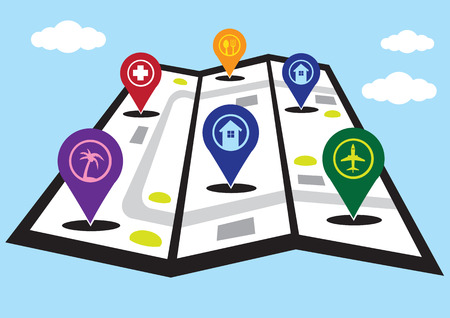 threefold: Vector illustration of three-fold street map with 3D markers for hotels, airport, restaurant, medical and attractions for travel concept. Illustration