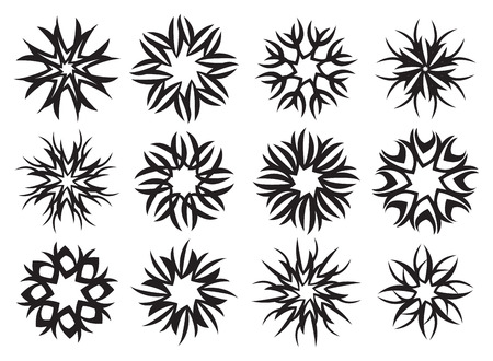visual effect: Set of abstract motif pattern design with rotational visual effect in black and white. Decorative vector art element isolated on white background.