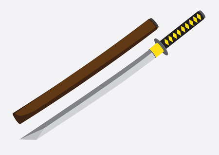 swordsmanship: Vector illustration of Katana, an ancient Japanese samurai sword and its wooden mounting isolated on plain background. Illustration