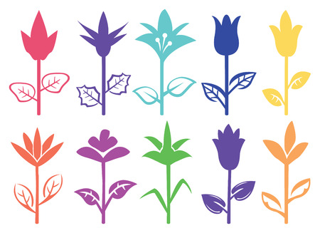 upright: Designs of silhouettes of flowers with upright stalk and leaves in side view. Vector illustration isolated on white background.