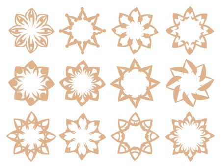 Set of flower inspired patterns vector design elements isolated on white background.