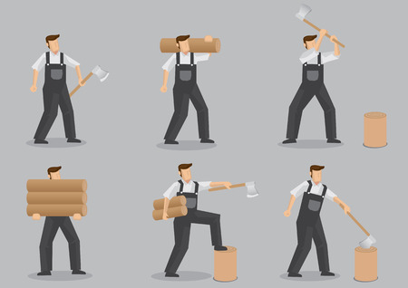 splitting: Cartoon character of a woodcutter carrying logs, chopping and splitting firewood with axe. Set of six vector illustrations isolated on grey background.