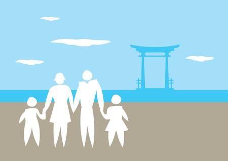 shrine: Vector cartoon illustration of silhouette of a family holding hands with symbolic Japanese shrine gate in background.