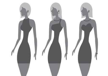bob: Vector illustration of three women with chic hairstyles and wearing little black dress with different necklines. Illustration