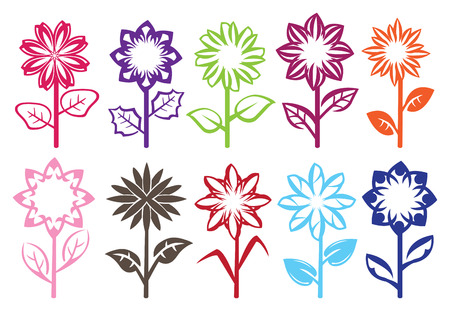 bloom: Set of ten designs of full bloom flowers on stalk with leaves. Vector illustration isolated on white background.