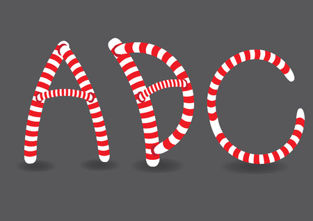basic candy: Vector illustration of capital letters A, B and C in fun candy cane-like red and white stripes isolated on grey background.
