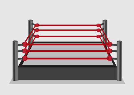 Vector illustration of wrestling ring with elevated stage platform surrounded by red ring ropes and steel ring posts in perspective side view isolated on plain background. Stock Illustratie