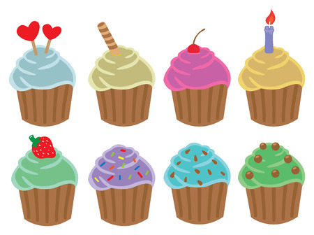 cupcakes isolated: Set of colorful cupcakes in variety of flavors with different toppings and cakes decorations. Vector cartoon illustration isolated on white background.