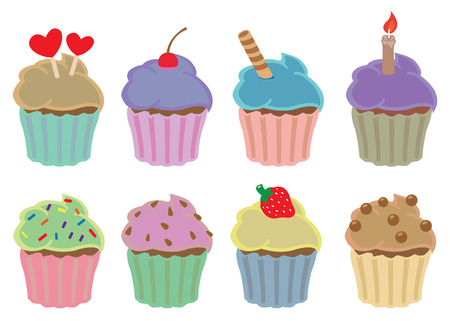cupcakes isolated: Vector illustration set of colorful cupcakes in different flavors and toppings isolated on white background.