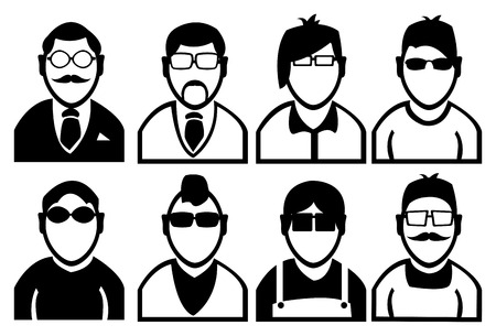 causal: Simple black and white outline drawing of men in variety of hairstyles and dressing fashion. Vector icon set isolated on white background.