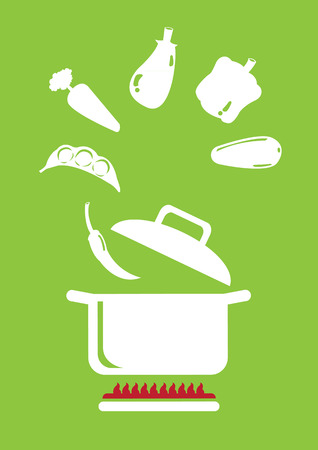 variety: Variety of vegetables floating in the air and going into cooking pot above stove. Minimalist vector illustration isolated on green background.