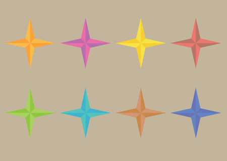 shrunken: Set of vector illustration of four point star symbols as decorative art graphic design elements isolated on plain background. Illustration