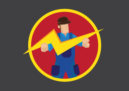 blue overall: Vector cartoon illustration worker in blue overall holding a lightning symbol.
