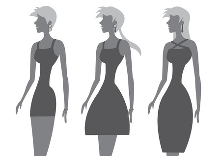 Vector illustration of woman with slim waist and different hairstyle wearing chic little black dress isolated on white background.