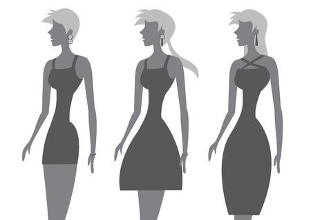 robe noire: Vector illustration de la femme avec la taille fine et coiffure diff�rente porter chic, petite robe noire isol� sur fond blanc.