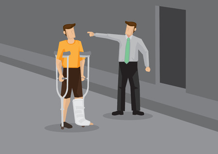 Unsympathetic employer pointing away and laying off injured employee with leg in plaster cast. Conceptual vector illustration for social issues like discrimination and prejudice. Çizim