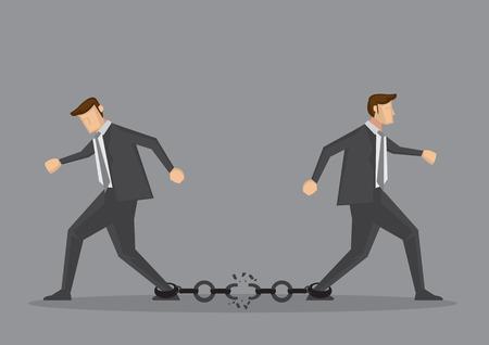 hombres ejecutivos: Los hombres de negocios a pie en dirección contraria y que rompen la cadena de enlace entre ellos. Ilustración vectorial conceptual de la relación comercial mala o sociedad división aislado sobre fondo gris.
