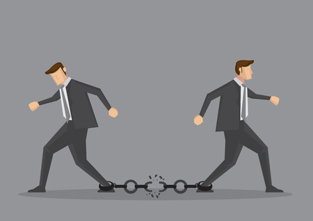 Businessmen walking in opposite direction and breaking the chain link between them. Conceptual vector illustration for bad business relationship or splitting partnership isolated on grey background. Illustration