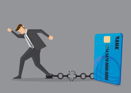 El hombre de negocios se libera de la cadena a la tarjeta de crédito bancaria. Ilustración de vector creativo para la deuda y la libertad financiera.