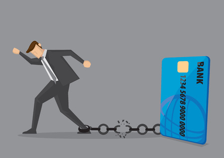Businessman breaks free from the chain to bank credit card. Creative vector illustration for debt and financial freedom. Vettoriali
