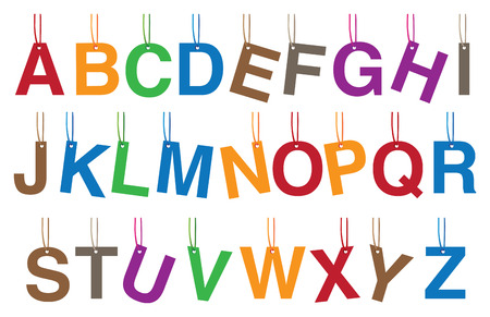 decorative accessories: Vector illustration of complete set of alphabets as colorful hanging accessories or decorative charms isolated on white background. Illustration