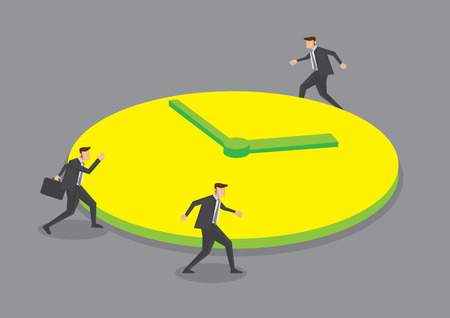 rush hour: Three businessmen running round a huge clock. Creative vector illustration for business concept on round the clock metaphor isolated on grey background. Illustration