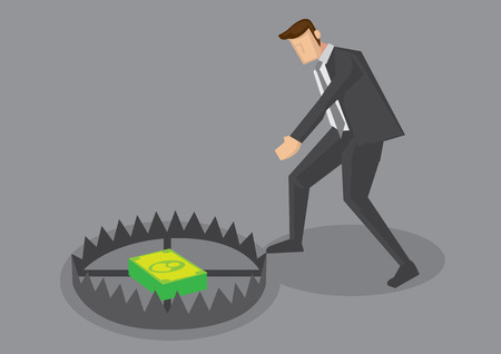Vector cartoon illustration of businessman tempted to reach for money inside trap. Creative vector illustration for business concept for greed and money trap. Illustration