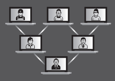 tree linked: Wireless laptop computers with people on monitor screen linked in a hierarchical tree network. Conceptual vector illustration for high tech virtual meeting and networking technology isolated on plain grey background. Illustration