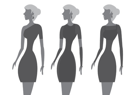 tight fitting: Stylized vector illustration of women dressed in little black dresses isolated on white background. Illustration