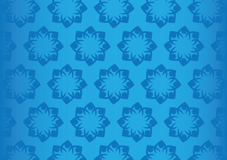 repeat pattern: Dark blue abstract flower design as seamless repeat pattern isolated on saturated bright blue and fades towards the sides. Vector background with focus in center.